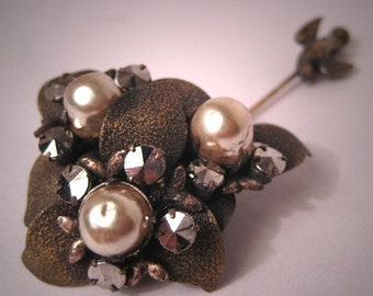 Antique Miriam Haskell Pearl Pin with Bird and Cut Steel Vintage c.1950