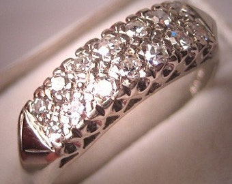 Antique Diamond Wedding Ring Band White Gold c.1930