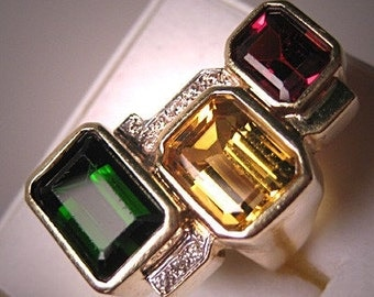 Designer Tourmaline Garnet Citrine Diamond Ring Estate 14K Gold
