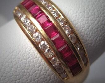 Estate Ruby Diamond Wedding Ring Band Vintage 14K Gold