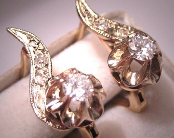 Antique Diamond Earrings Art Deco Vintage -  Wedding Jewelry