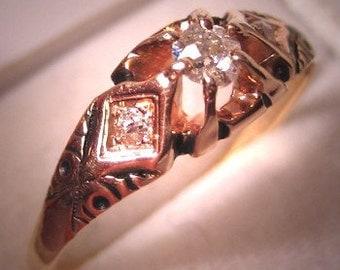 Antique Diamond Wedding Ring Vintage Victorian Gold 7