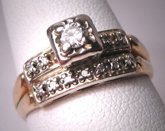 Antique Diamond Wedding Ring Set Vintage Art Deco 14K