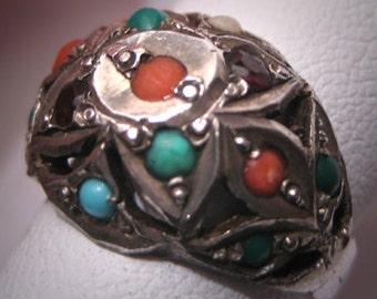 Antique Coral Turquoise Garnet Ring Vintage Victorian