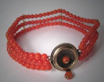 Antique Coral Bracelet Georgian Victorian 18K Gold 1800