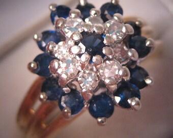 Estate Sapphire Diamond Wedding Ring Vintage Retro Deco Gold
