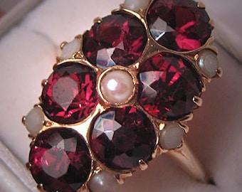 Antique Garnet Pearl Ring Victorian Deco Vintage 14K