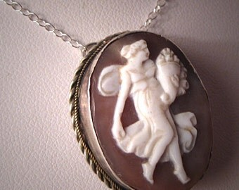 Antique Cameo Necklace Art Nouveau Victorian Silver Neo Classic