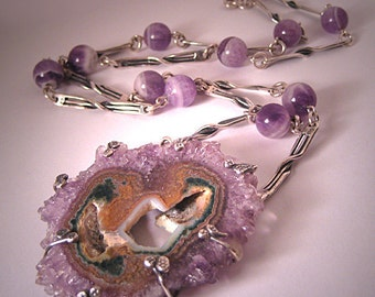 Designer Jewelry Lg Amethyst Sterling Necklace S. Amit