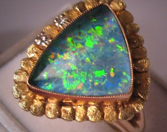 Estate Gold Nugget Opal Diamond Ring Fine Jewelry Yukon