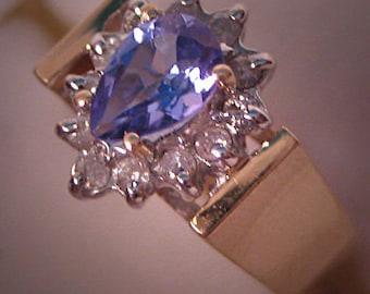 Vintage Tanzanite Diamond Ring 14K Gold Estate Jewelry