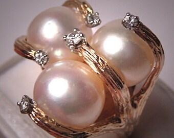Superb Vintage 10mm Pearl Diamond Ring Designer Jewelry