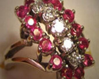 Antique Ruby Diamond Ring Retro Deco White Gold Estate