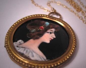 Antique Enamel Portrait Necklace Vintage Art Nouveau