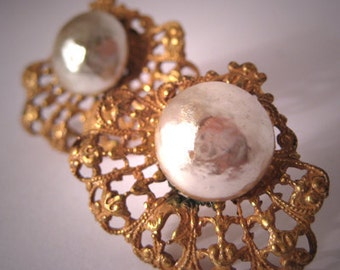 Vintage Miriam Haskell Pearl Earrings Baroque Pierced
