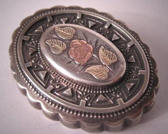Antique Victorian Brooch Gold Silver Vintage 1863 Pin Wedding Bridal