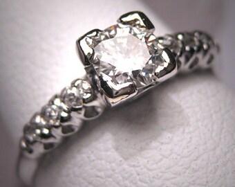 Antique Platinum Diamond Wedding Ring Vintage Art Deco
