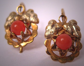 Antique Victorian Earrings Gold Coral Vintage Jewelry