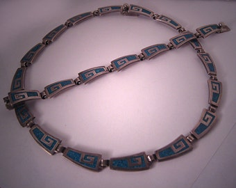 ON SALE! 20% Off Vintage Taxco Silver Necklace Bracelet Turquoise Inlay