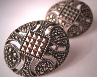 Vintage Judith Jack Earrings Sterling Marcasite Signed
