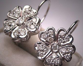 Vintage Diamond Earrings 14K White Gold Estate Wedding