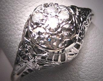 Antique Diamond Wedding Ring Vintage Deco Engagement WG
