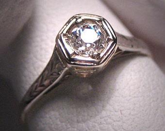 Antique Diamond Wedding Ring Engagement Vintage .20ct
