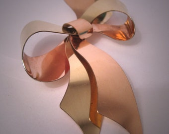 Antique Art Deco Bow Brooch Large Rose Green Gold Pin