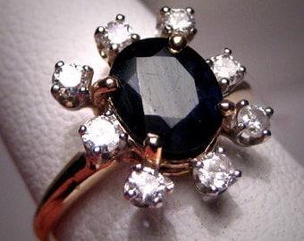 Antique Sapphire Diamond Wedding Ring Vintage Art Deco
