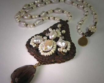 Vintage Filigreed Pearl Necklace with Smokey Quartz Drop Handmade