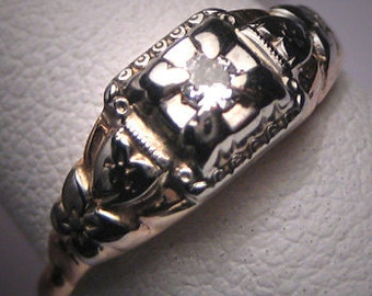 Antique Diamond Wedding Ring Vintage Art Deco Band