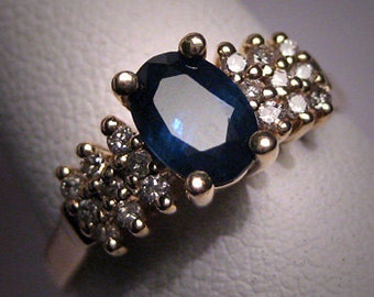 Vintage Sapphire Diamond Wedding Ring Band 14K Gold