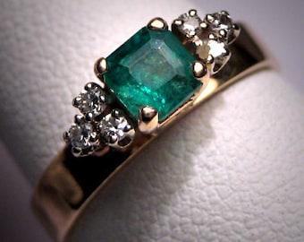 Antique Emerald Diamond Wedding Ring Vintage Art Deco