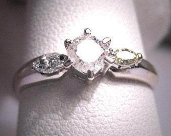 Vintage Diamond Wedding Ring 18K White Gold 1/2ctw 7