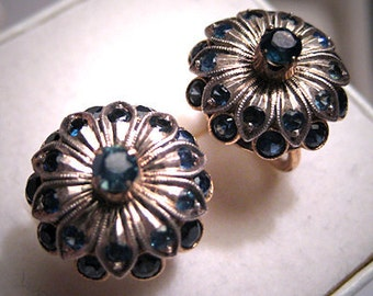 Antique Sapphire Earrings 18K Gold Vintage Art Deco