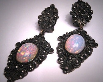 Antique Victorian Opal Earrings Etruscan Revival Silver