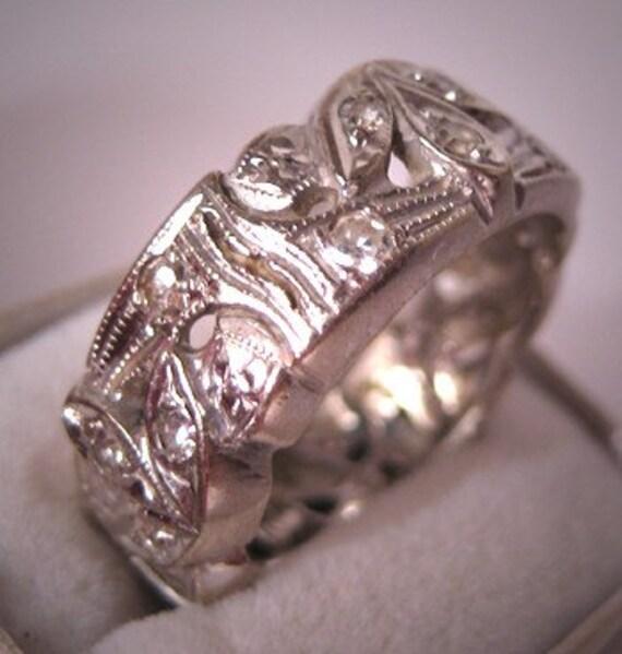 Antique Diamond Eternity Band Wedding Ring Vintage Deco