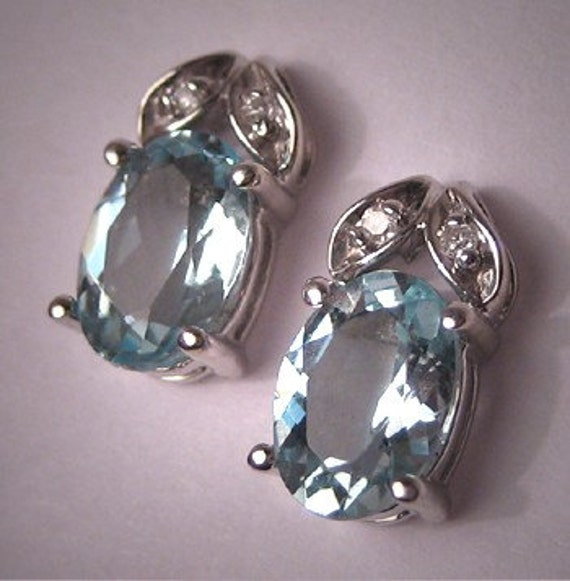ON SALE 10% OFF Estate Aquamarine Diamond Earrings Vintage White Gold