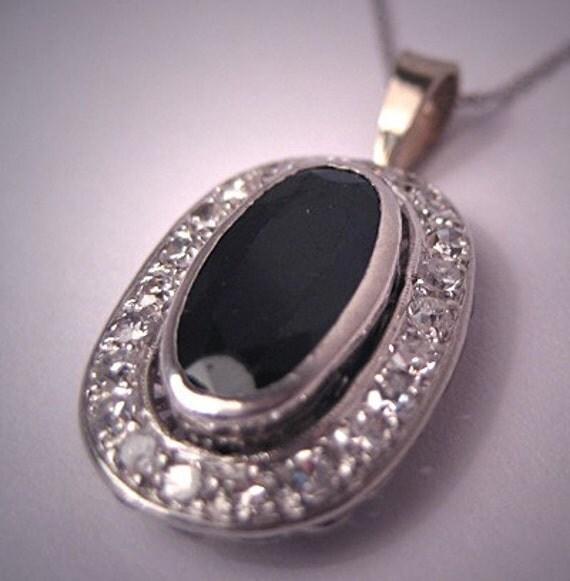 Antique Platinum Sapphire Diamond Pendant Vintage Art Deco Necklace