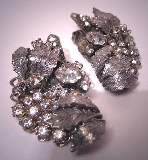 Fabulous Large Vintage Rhinestone Earrings Designer Signed Filigree