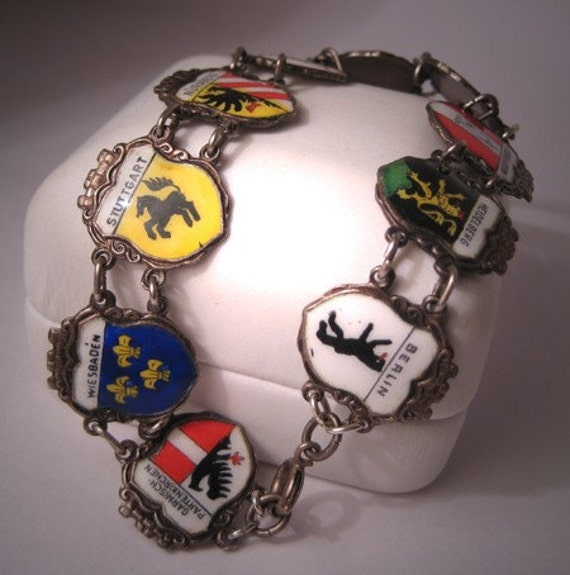 Antique Enameled Bracelet Heraldic European Silver Vintage
