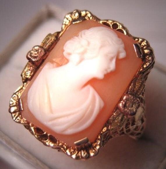 Antique Cameo Ring Vintage Art Nouveau Deco Filigree Rose Gold