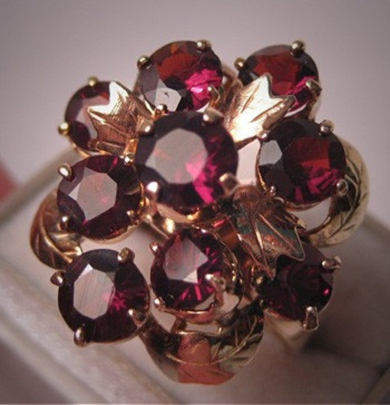 ON SALE 15% OFF Antique Garnet Ring Vintage Art Deco Gold