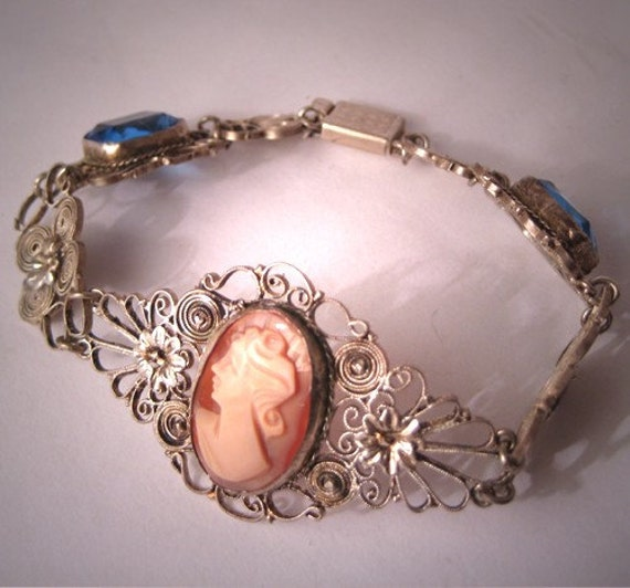 ON SALE 15% OFF Antique Cameo Bracelet with Sapphire Stones Italian Filigree Vintage