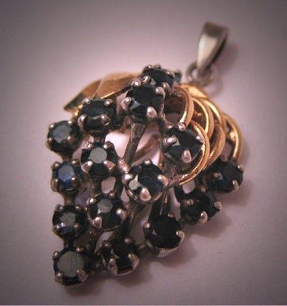 Vintage Sapphire Pendant Grape Motif Gold and Silver