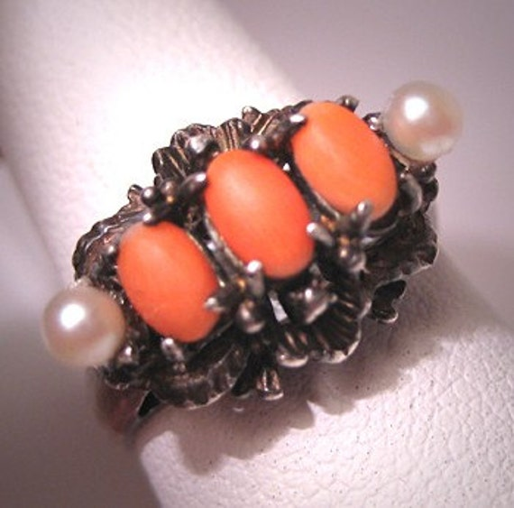 antique coral ring with pearls vintage deco italian