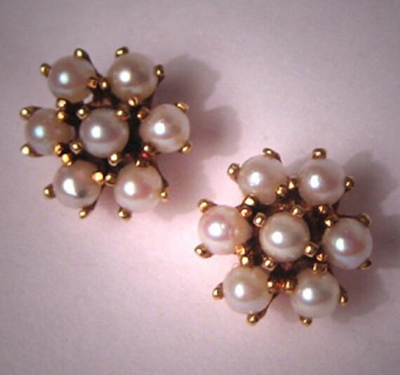 Antique Victorian Earrings Seed Pearl 18K Gold Vintage