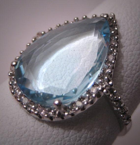 Vintage Blue Topaz Diamond Ring White Gold Estate Gem