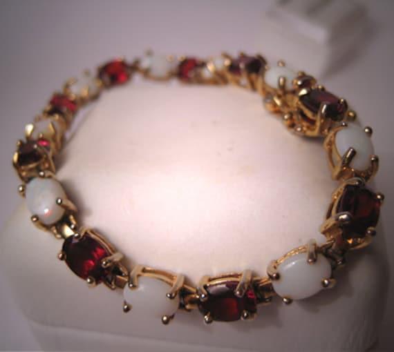 Estate Garnet Opal Bracelet Tennis Vintage Eternity 18K