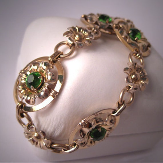 Antique Art Deco Bracelet Vintage Peridot Ornate Floral